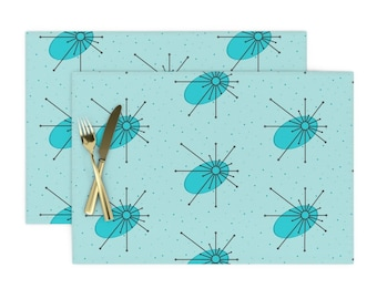 - Simple Modern Blue Flower by alison/_janssen Set of 2 Floral  Vintage Look Blue  Cloth Placemats by Spoonflower Starburst Placemats