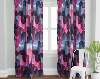Geometric Custom Curtain Panel by Spoonflower Talavera Bw And Plum by wren/_leyland Abstract Curtain Panel