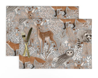 Cloth Placemats Woodland Forest Animals Woods Wood Trees Nature Set of 2