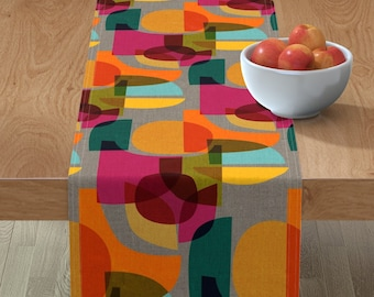 Modern Quilted table Runner Mid Century