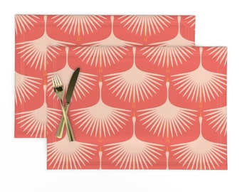 Geometric Coral Cloth Placemats by Spoonflower - Mid Century Coral by groundnut/_apiary Mid Century Modern Placemats Set of 4