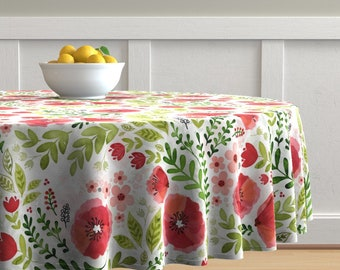 Watercolor Cotton Sateen Circle Tablecloth by Spoonflower Sierra-floral by crystal/_walen Pastel Floral Round Tablecloth