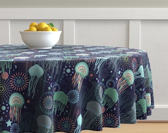 Beach Cotton Sateen Tablecloth by Spoonflower Grasscloth In Navy by willowlanetextiles Nautical Tablecloth