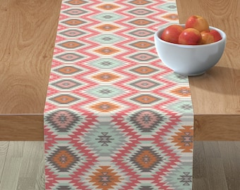 Geo  Mint Coral Mustard Aztec Triangles  Cotton Sateen Table Runner by Spoonflower Boho Table Runner Coral Aztec Stripe by ivieclothco