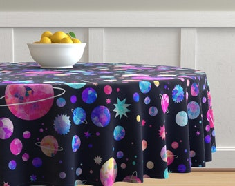 Distant Galaxy by endemic Pastel Planets Table Runner Watercolor Galaxy  Cosmic Voyage Cotton Sateen Table Runner by Spoonflower