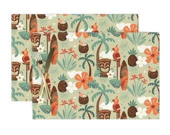 Cloth Placemats Vintage Hawaii Tiki Hawaii Retro Hawaiian Polypop Set of 2