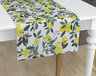 Lemon Table Runner   Dear Clementine Lemons By Crystal_Walen   Luxe Fruit  Cotton Sateen Table Runner By Roostery With Spoonflower Fabric