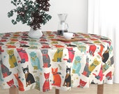 Whimsical Cats Round Tablecloth - Kittens In Mittens by andrea_lauren - Knitting Crochet Cotton Sateen Circle Tablecloth by Spoonflower