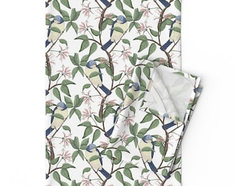 - Bird Spotting Large by lydia/_meiying Botanical Bird Placemats Vintage Tree English Garden Cloth Placemats by Spoonflower Set of 4