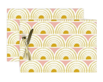 - Nautical Goldenrod  by helenpdesigns White Gold Cloth Placemats by Spoonflower Set of 4 Nautical Stripes Placemats