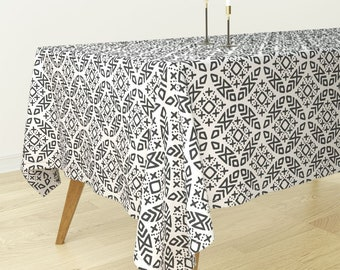 Boho Rectangular Tablecloth   Modern Moroccan On Bone By Littlearrowdesign    Bantam Cotton Sateen Tablecloth Spoonflower Fabric