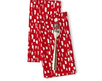 Mod  Retro Cloth Napkins by Spoonflower Confetti Dinner Napkins - Postmodern Funfetti In Pink  Black by elliottdesignfactory Set of 2