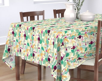 Kawaii Paradise  Palm Leaves Animal Cotton Sateen Table Runner by Spoonflower Toucan by edward/_elementary Tropical Bird Table Runner