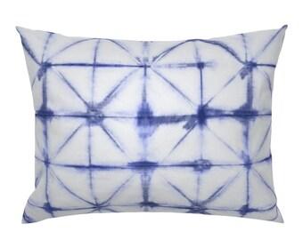 Cobalt Blue  Indigo Shibori Cotton Sateen Pillow Sham Bedding by Spoonflower Scalloped Shibori by j9design Indigo Scallops Pillow Sham