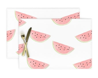 Summer Fruit Pillow Sham Watercolor Cotton Sateen Pillow Sham Bedding by Spoonflower Watermelon Seamless On White by daily/_miracles