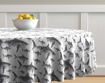 Geometric Shark Cotton Sateen Circle Tablecloth by Spoonflower Nautical Round Tablecloth Geometric Sharks Grey  by modfox