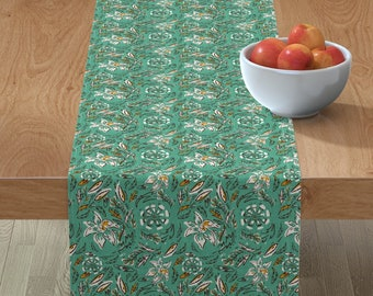 Beach House Table Runner Anchors Mint And Navy by littlearrowdesign Nautical  Sea Mint Navy Cotton Sateen Table Runner by Spoonflower