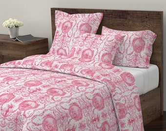 Bon Toile Duvet Cover   Pink Dawn Rococo Harvest By Peacoquettedesigns    Vintage Style Cotton Sateen Duvet Cover Bedding By Spoonflower