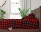 Red Buffalo Plaid Sheets - Buffalo Plaid Red by portage_and_main - Buffalo Check Cotton Sateen Sheet Set Bedding by Spoonflower