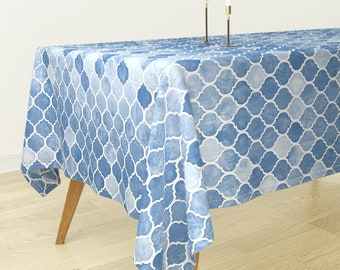 Rectangular Tablecloth   Textured Blue Moroccan By Micklyn   Bohemian Blue  Bantam Cotton Sateen Tablecloth Spoonflower Fabric