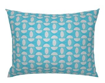 Mod Circles Pillow Sham Turquoise White Watercolor Aqua Cotton Sateen Pillow Sham Bedding by Spoonflower Half Circles by miamaria