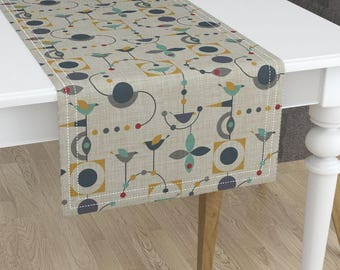 Mid Century Modern Table Runner   Birdland Geometric Larger By  Vo_aka_virginiao   Minorca Cotton Sateen Table Runner By Roostery  Spoonflower