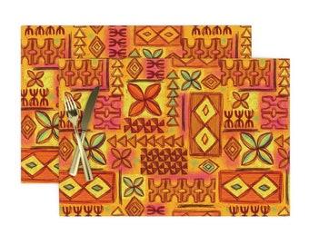 Set of 4 Mid Century Placemats - Tiki Tapa by woodyworld Polynesian Tiki Tapa Hawaii Hawaiian Orange Cloth Placemats by Spoonflower
