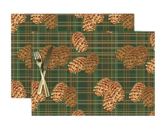 Pinecones On Plaid by rubydoor Rustic Table Runner Forest  Woods Evergreen Tree Plaid Tartan Cotton Sateen Table Runner by Spoonflower