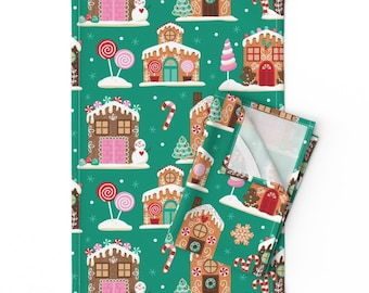 Chirstmas  Decorating Cotton Sateen Circle Tablecloth by Spoonflower Frosty Village by lisa/_kubenez Gingerbread House Round Tablecloth