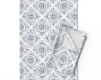 Indigo by Diamond Tiles Pillow Sham Watercolor Cotton Sateen Pillow Sham Bedding by Spoonflower Diamond Sunburst