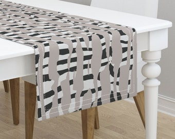 66cb34646a Animal Print Table Runner - Jumbo Zebra Meets Snow Tiger by juliaschumacher  - Safari Cotton Sateen Table Runner by Spoonflower