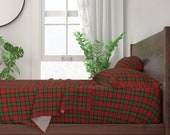Christmas Sheets - Maxwell Clan Tartan by weavingmajor - Plaid Check Square Pattern Red Cotton Sateen Sheet Set Bedding by Spoonflower