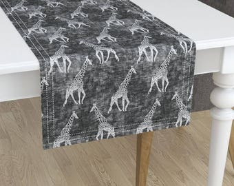 Giraffe Table Runner   Safari Grunge Grey By Holli_Zollinger   African  Animal Minorca Cotton Sateen Table Runner By Roostery Spoonflower