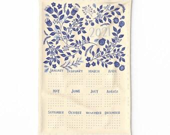 Spoonflower Tea Towel 2021 Calendar Blue Watercolor Roses Floral Linen Cotton