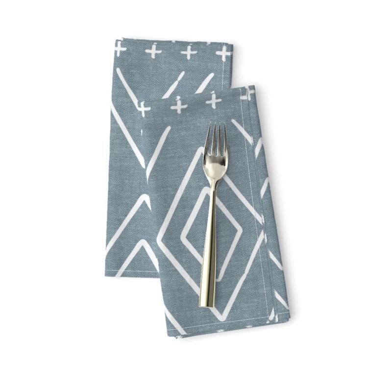 Boho Diamonds Dinner Napkins - Denim Blue Mudcloth by littlearrowdesign Set of 2 Dusty Blue Mudcloth  Cloth Napkins by Spoonflower