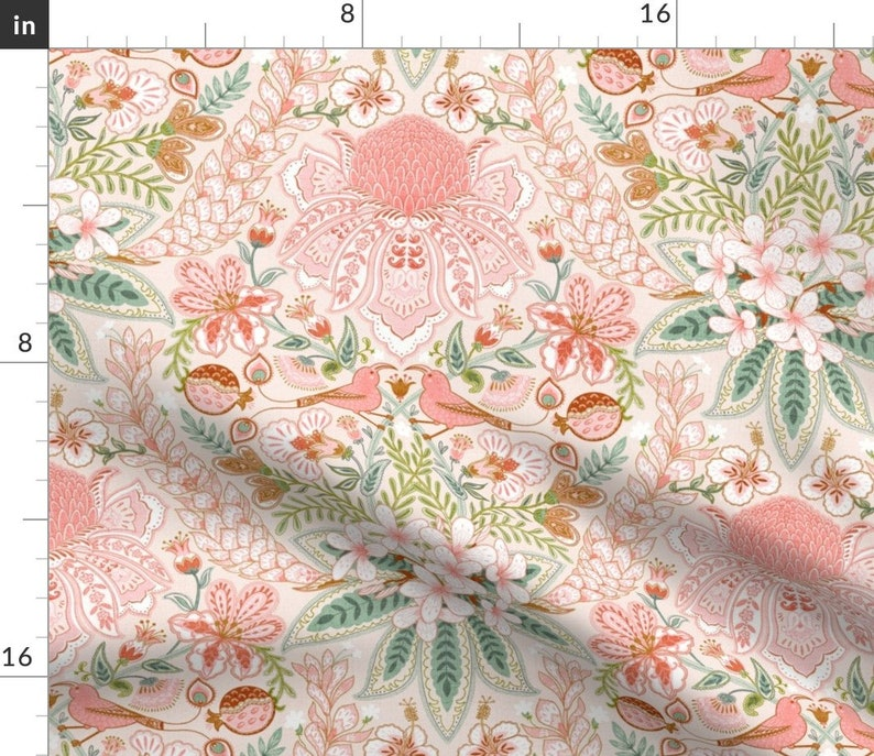 Tropical Damask Throw Pillow Hawaiian Boho by helenpdesigns Birds  Paisley Bohemian Coral 18x18 Square Throw Pillow by Spoonflower