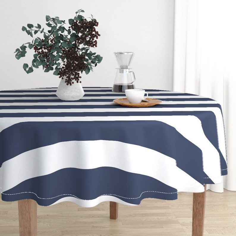 Deep Navy by drapestudio Nautical Cotton Sateen Circle Tablecloth by Spoonflower Preppy Stripes Navy Stripes Round Tablecloth