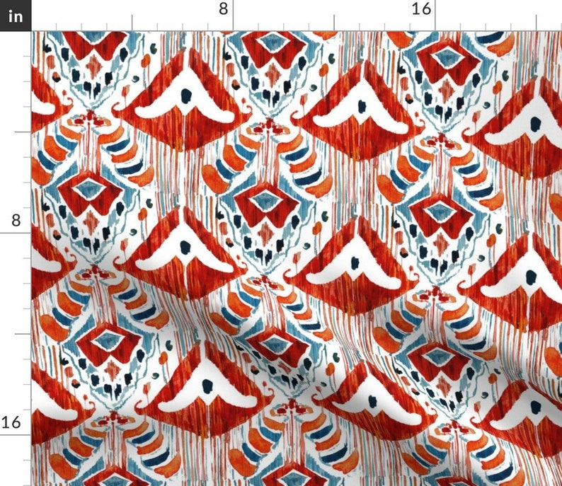 - Balinese Red Ikat by tasiania Watercolor Ikat Dinner Napkins Batik  Ethnic Traditional Damask Cloth Napkins by Spoonflower Set of 2