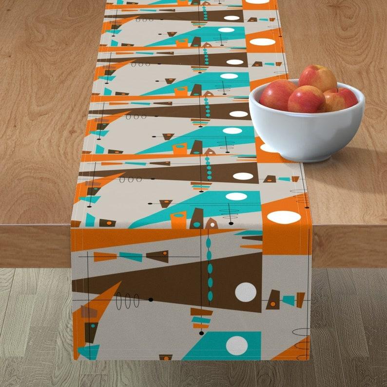 Mid-century Modern Table Runner Abstract  Vintage Cotton Sateen Table Runner by Spoonflower Rectangle Explosion by hot4tees/_bgyahoo/_com