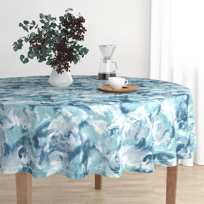 Blue Watercolor Stone Sage Cotton Sateen Circle Tablecloth by Spoonflower Marble Round Tablecloth Marble Mist Teal Grey by mjmstudio
