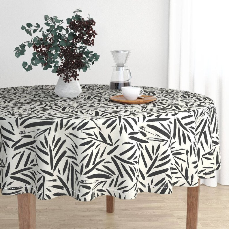 Luxe Cotton Sateen Round Malay Tablecloth by Roostery with Spoonflower Round Tablecloth Not So Black and White Leaves by Crystal/_Walen