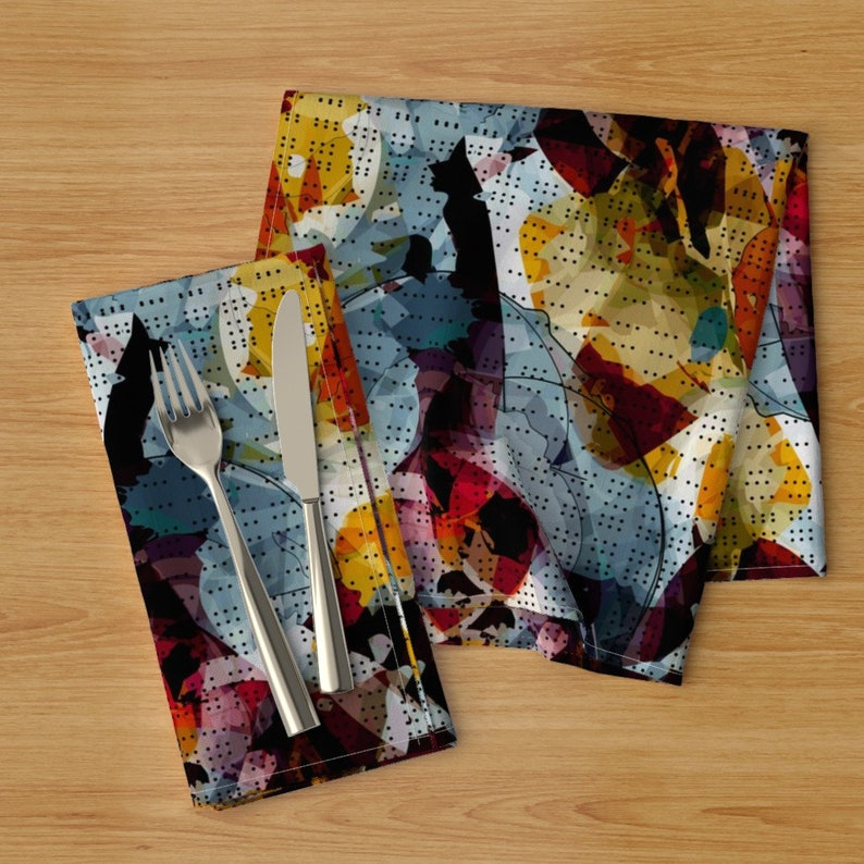 Abstract Painterly   Cloth Napkins by Spoonflower Gestural Watercolor Dinner Napkins Set of 2 - Dotty Watercolor by jenflorentine