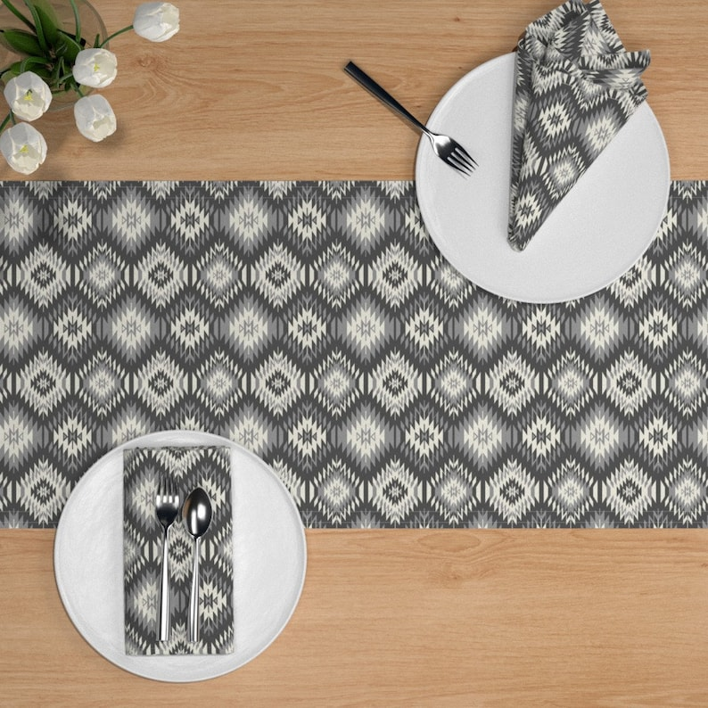 Tribal  Black Gray Cotton Sateen Table Runner by Spoonflower Navajo Soft Black Gray And Cream by bohemiangypsyjane Aztec Table Runner