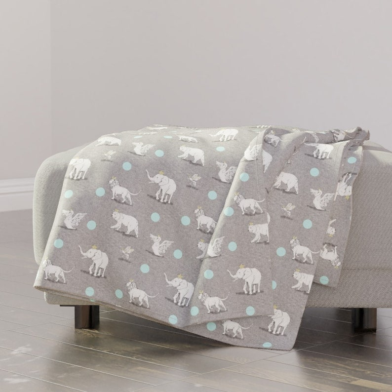 Polka Dots Throw Blanket with Spoonflower Fabric Whimsical Animals Throw Blanket Royal Parade by nouveau/_bohemian