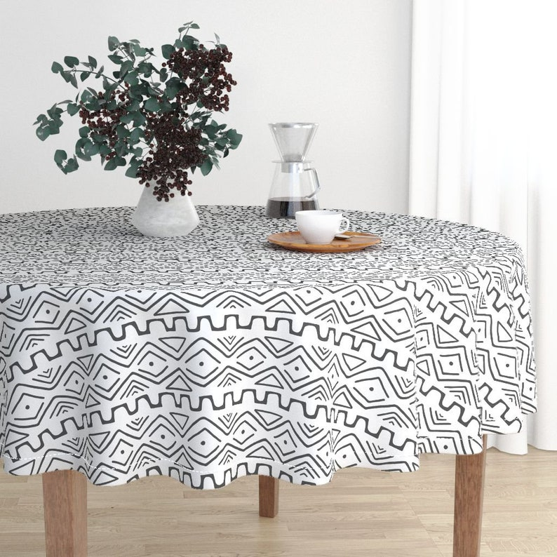 Tribal Cotton Sateen Circle Tablecloth by Spoonflower Mud Cloth Black And White by thewellingtonboot Mud Cloth Round Tablecloth