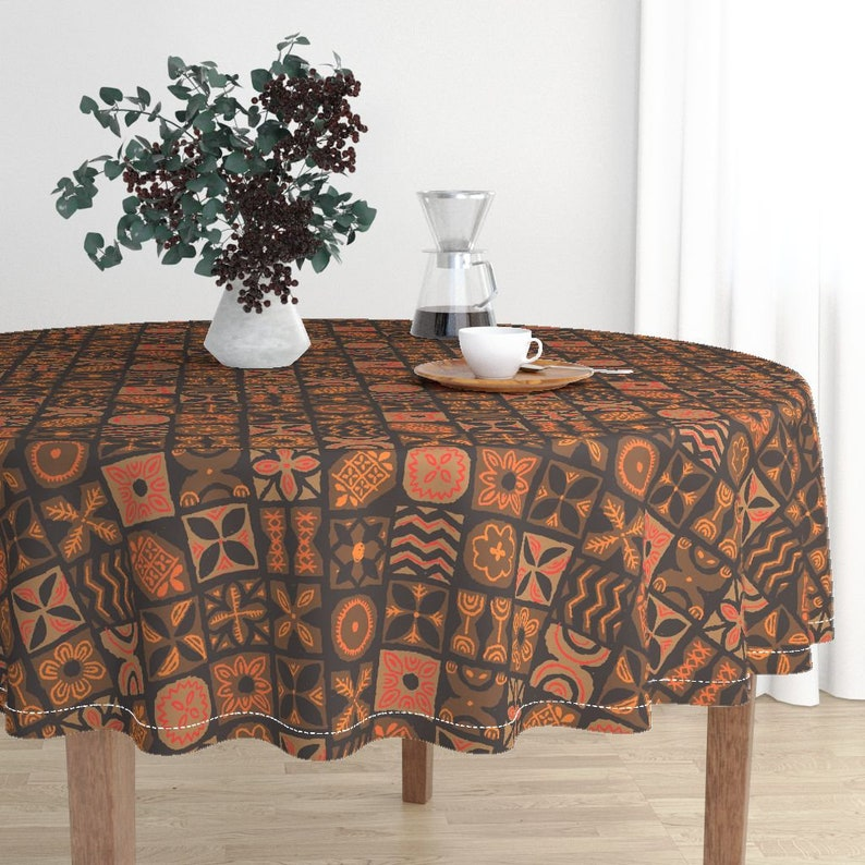 Tapa In Orange And Brown by muhlenkott Vintage Hawaiian Cotton Sateen Circle Tablecloth by Spoonflower Retro Tiki Round Tablecloth