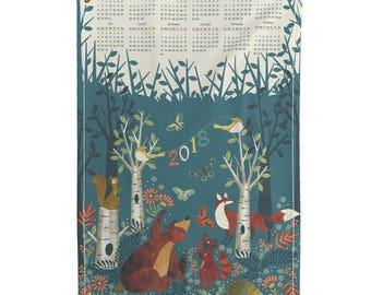 Tea Towel Calendar Set - In the woods 2018 tea towel calendar by cjldesigns - Woodland Linen Cotton Tea Towel Set by Roostery Spoonflower