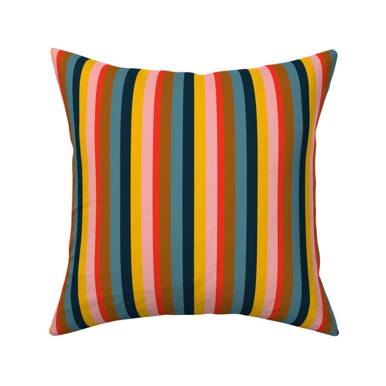 Magical Peony Stripes by heidi-abeline Peony Coordinate Throw Pillow Maximalist Stripes  18x18 Square Throw Pillow by Spoonflower