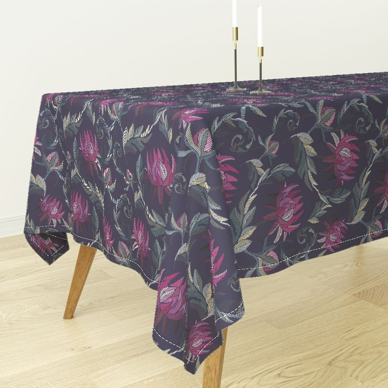 Embroidery Inspired Printed Flowers By Elena/_Naylor Rectangular Tablecloth Bantam Cotton Sateen Tablecloth  Spoonflower Fabric