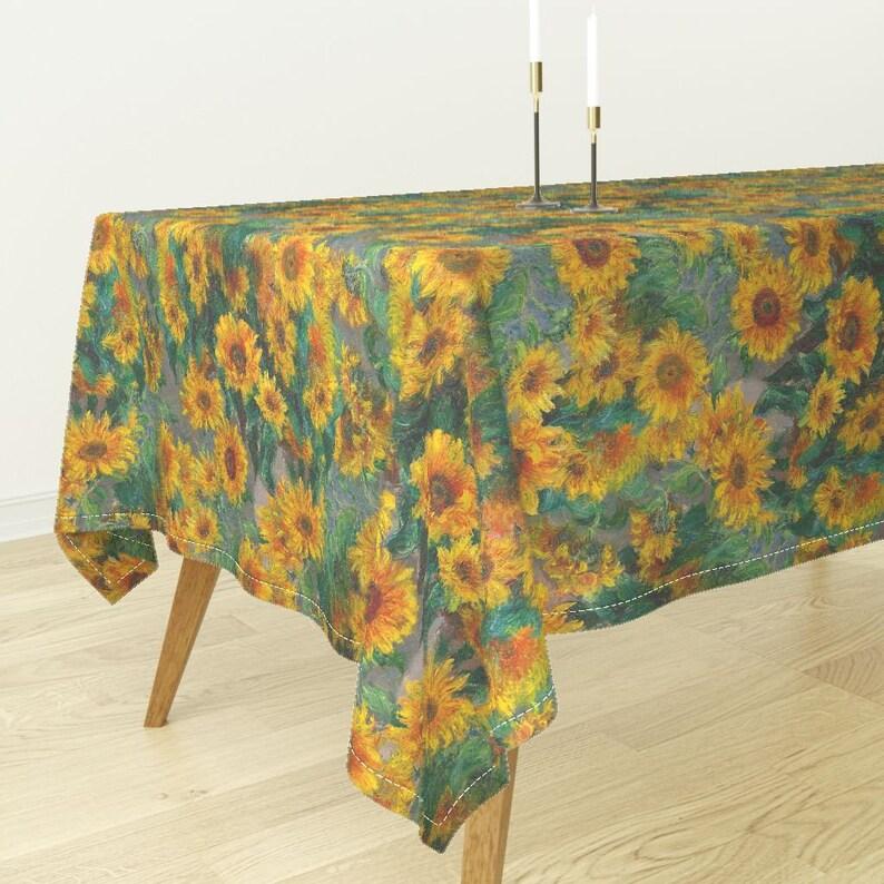 Monet/'s Sunflowers By Weavingmajor Rectangular Tablecloth jumbo Summer Bantam Cotton Sateen Tablecloth  Spoonflower Fabric